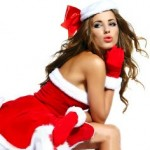 Russian bride in Santa Clause costume